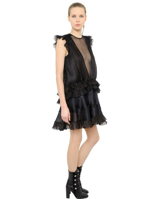 Isabel Marant | Black Ruffled & Pleated Organza Dress | Lyst