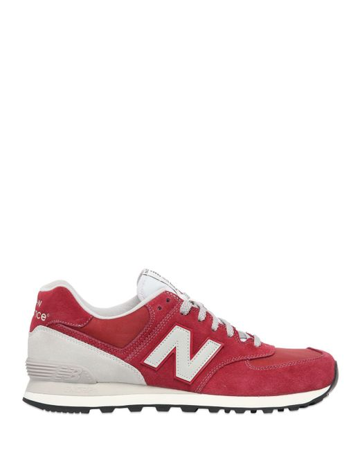 New Balance | Purple 574 Nylon & Suede Sneakers | Lyst