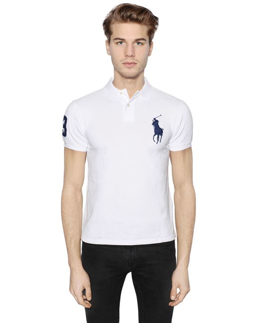 Polo Ralph Lauren | White Slim Big Pony Cotton Piqué Polo Shirt for Men | Lyst