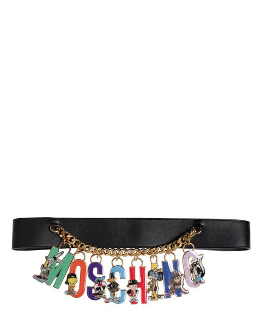Moschino | Black 50mm Looney Tunes Logo High Waist Belt | Lyst