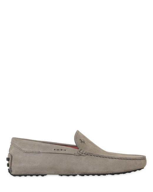 Tod's | Gray Gommino Tyre Nubuck Driving Shoes for Men | Lyst
