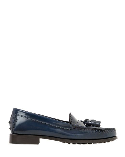 Tod's | Blue 20mm Città Brushed Leather Loafers | Lyst