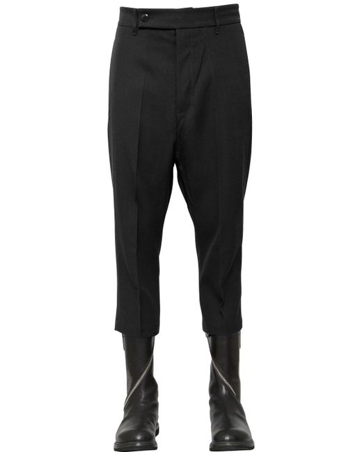Rick Owens | Black Cropped Wool Drill Pants for Men | Lyst