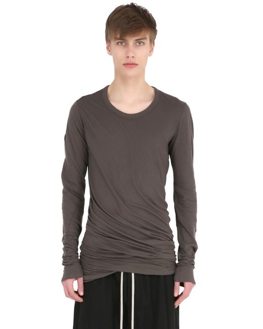 Rick Owens | Gray Double Cotton Jersey Long Sleeve T-shirt for Men | Lyst