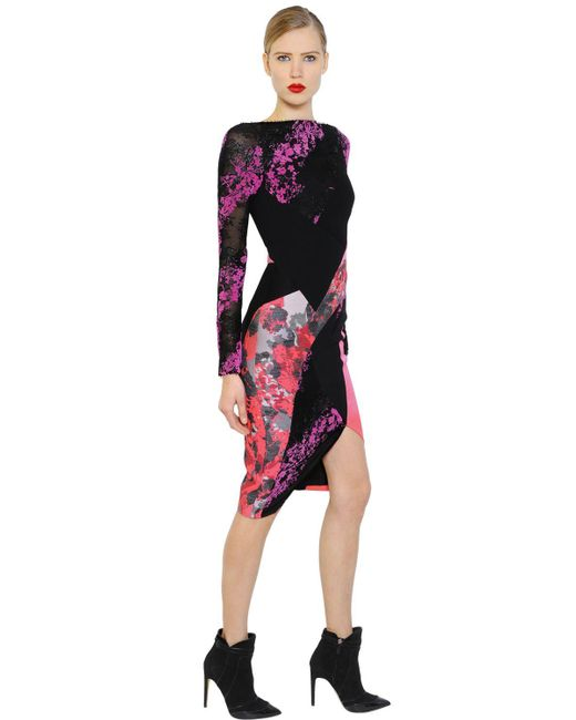 Antonio Berardi | Black Floral Flocked Lace & Scuba Dress | Lyst