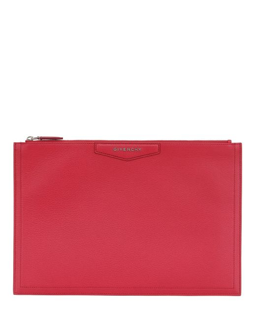 Givenchy | Red Large Grained Leather Pouch | Lyst