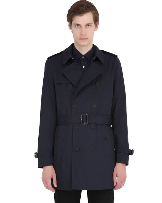 Burberry Brit | Blue Cotton Gabardine Trench Coat for Men | Lyst