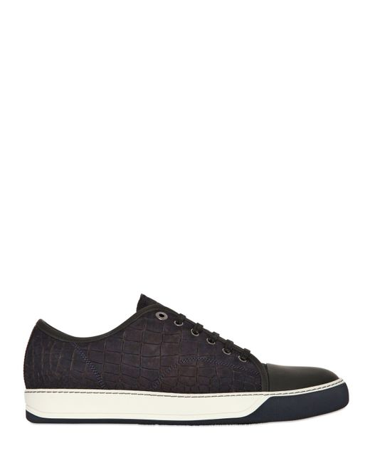 Lanvin | Gray Crocodile Embossed Nubuck Sneakers for Men | Lyst