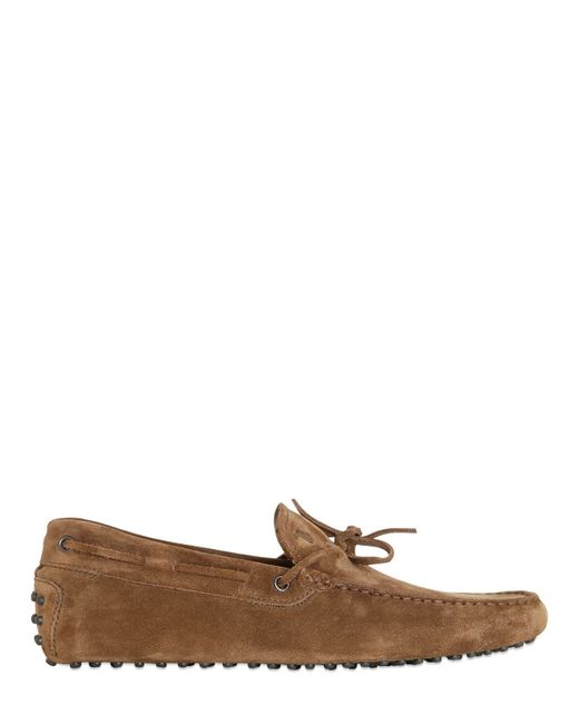 Tod's | Brown Gommino 122 Suede Driving Shoes for Men | Lyst
