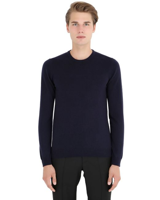 Incotex | Blue Crew Neck Cashmere Sweater for Men | Lyst