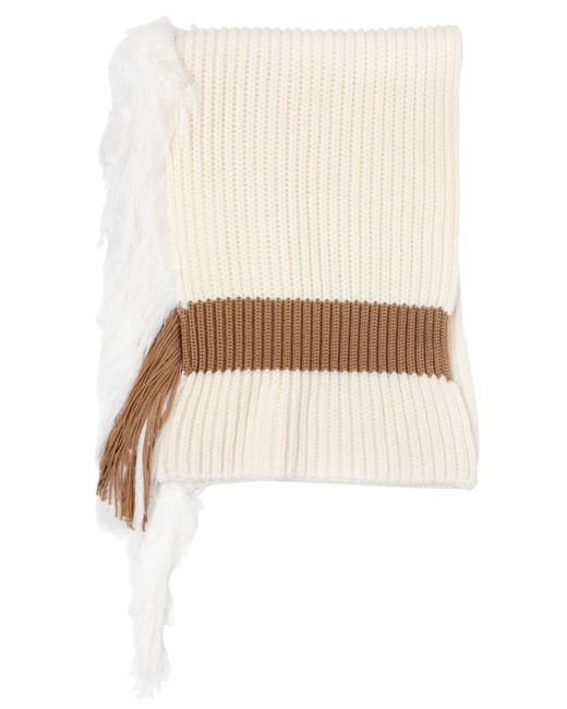 J.W.Anderson | White Ribbed Wool Blend Scarf With Fringe | Lyst