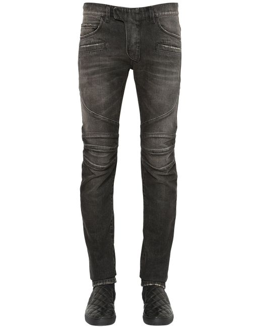 Balmain | Black 17cm Biker Washed Cotton Denim Jeans | Lyst