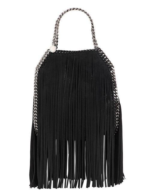 Stella McCartney | Black Mini 3chain Falabella Fringed Bag | Lyst