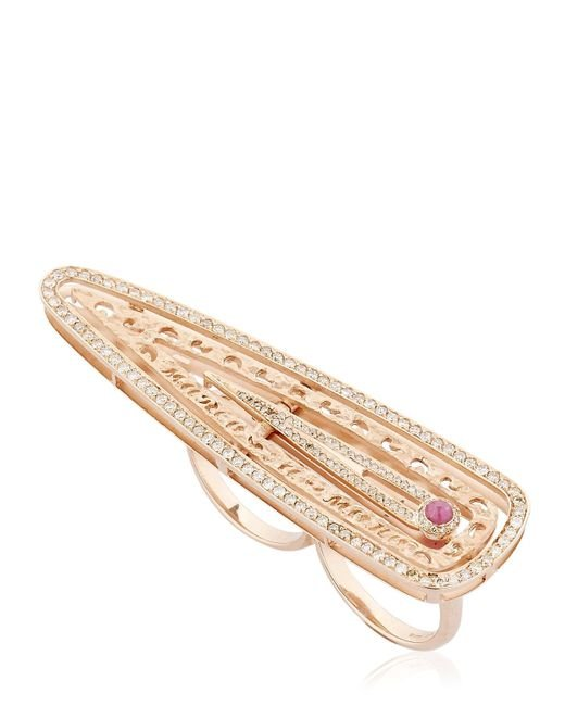 MARCO DAL MASO | Pink Amaia Rose Gold Double Finger Ring | Lyst