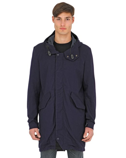 spiewak fishtail anderson cotton canvas parka in blue for men lyst. Black Bedroom Furniture Sets. Home Design Ideas