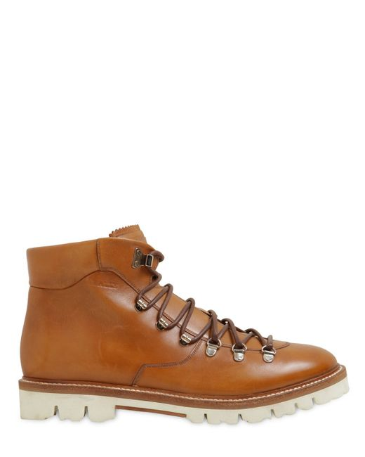 Bally | Brown Jc Leather Hiking Boots | Lyst