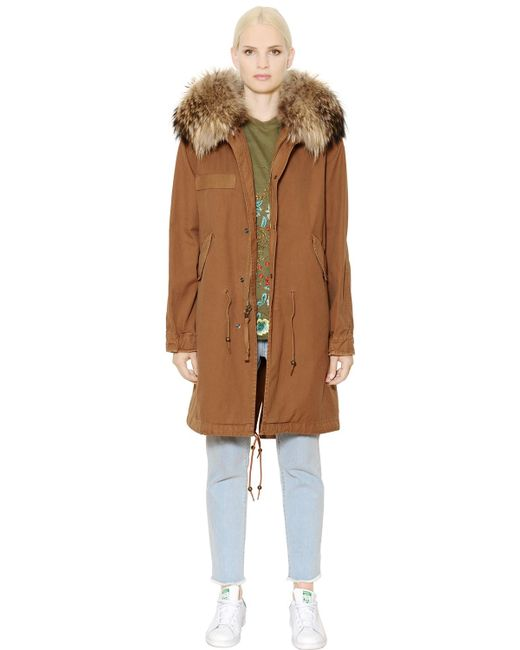 Mr & Mrs Italy | Brown Cotton Canvas Parka With Murmansky Fur | Lyst