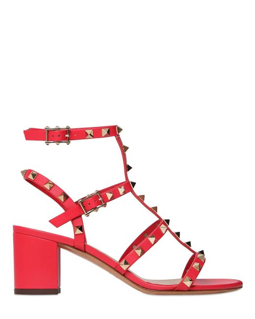 Valentino | Red Rockstud Leather 60mm Sandals | Lyst