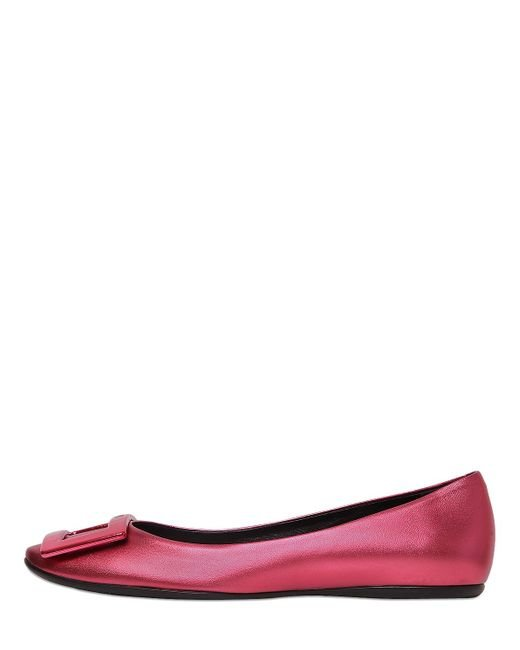 Roger Vivier | Purple 10mm Gommette Metallic Leather Flats | Lyst