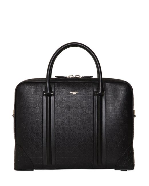 Givenchy | Black Logo Embossed Leather Briefcase for Men | Lyst