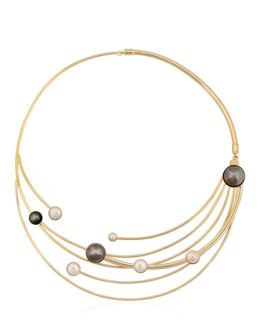 Sharra Pagano | Metallic Faux Pearl Necklace | Lyst