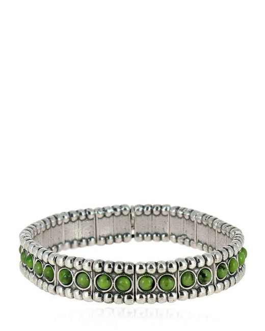 Philippe Audibert | Metallic Wappo Green Agate Stretch Bracelet | Lyst