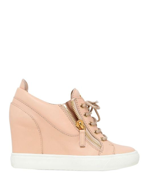 Giuseppe Zanotti | Pink 90mm Leather Wedge Sneakers | Lyst