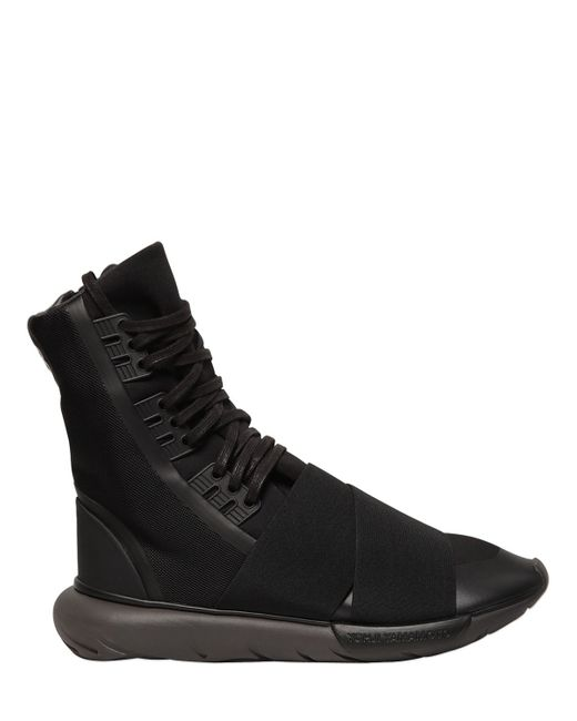 Y-3 | Black Qasa Boot Nylon High Top Sneakers for Men | Lyst