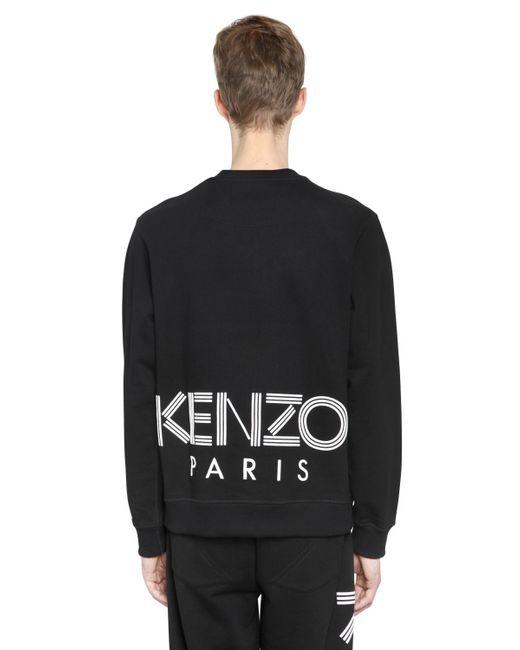 KENZO   Black Back Logo Print Cotton Sweatshirt for Men   Lyst