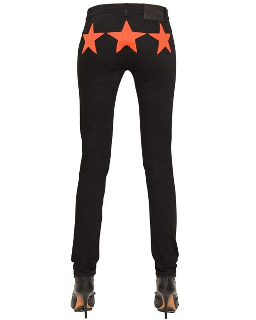 Givenchy | Black Slim Stretch Denim Jeans W/ Star Inserts | Lyst
