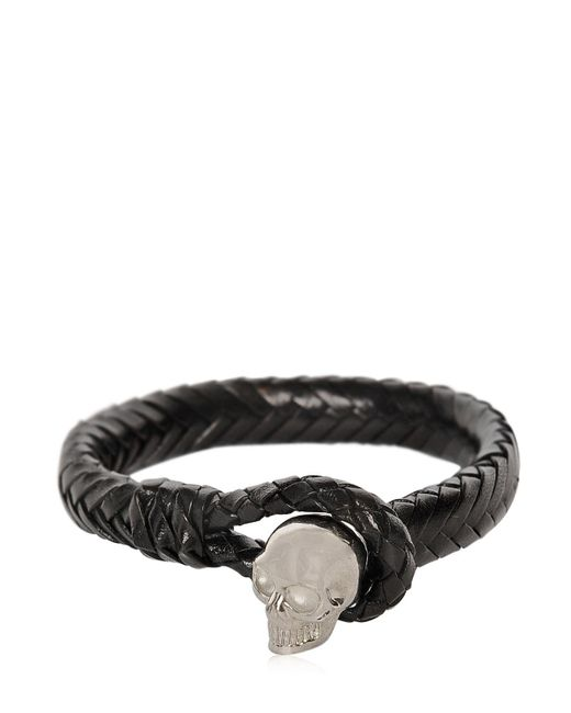 Alexander McQueen | Black Braided Leather Bracelet With Skull | Lyst