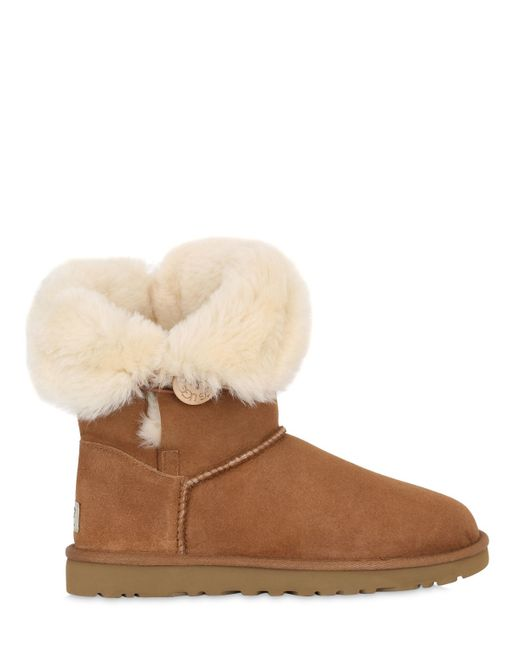 UGG | Brown Bailey Button Shearling Boots | Lyst