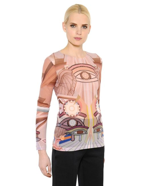Givenchy   Brown Eye Printed Sheer Stretch Tulle Top   Lyst