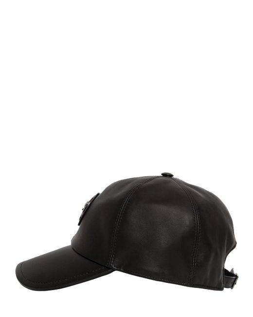 Versace Medusa Nappa Leather Baseball Hat In Black For Men