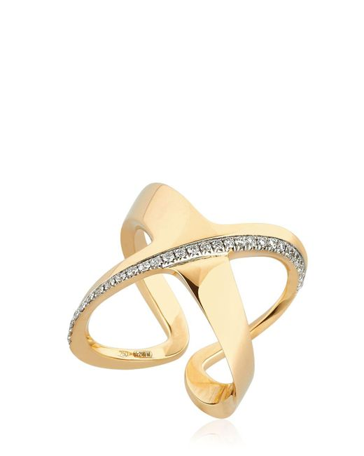 Antonini | Metallic Siracusa Crisscross Diamond Ring | Lyst