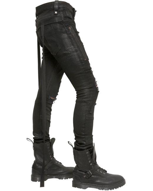 Unravel Skinny Fit Destroyed Stretch Denim Jeans in Black for Men ...