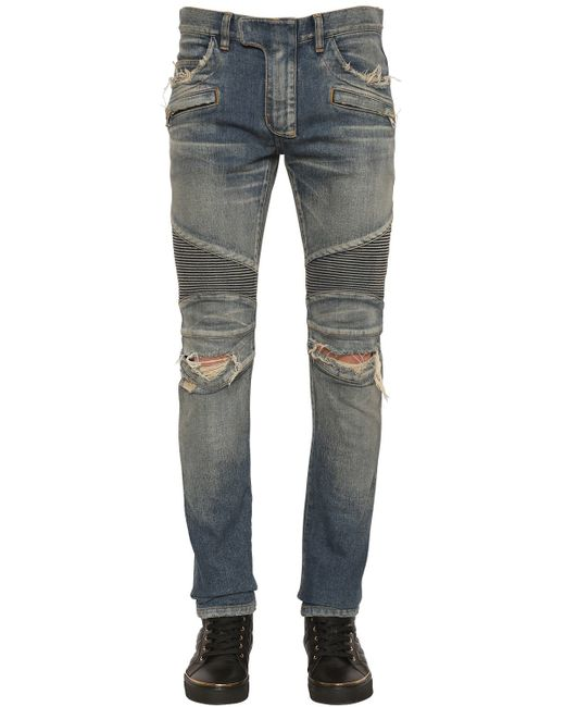 Balmain | Blue Faded Stretch-Denim Biker Jeans for Men | Lyst