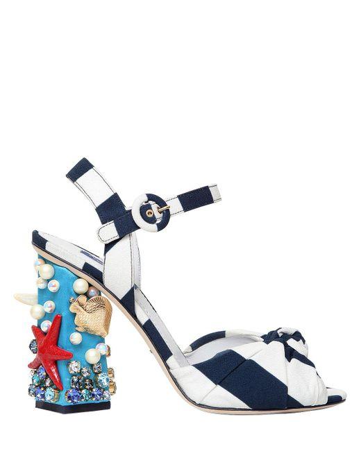 Dolce & Gabbana | Blue 105mm Keira Sea Embellished Cady Sandals | Lyst