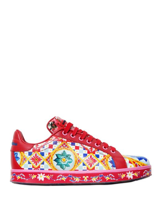 Dolce & Gabbana | Red 20mm Portofino Maiolica Leather Sneakers | Lyst