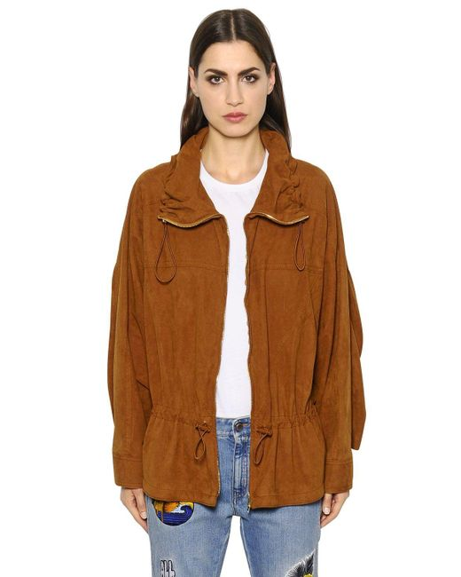 Stella McCartney | Brown Oversized Zip-up Faux Suede Jacket | Lyst