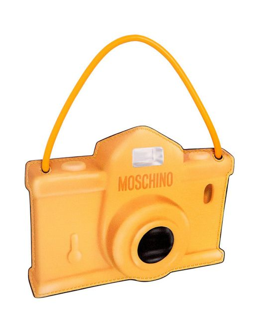 Moschino   Yellow Camera Printed Leather Pouch   Lyst