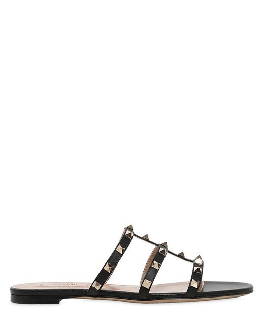 Valentino | Black 10mm Rockstud Leather Sandal | Lyst