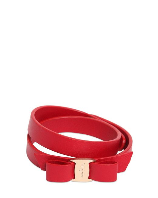 Ferragamo | Red Bow Leather Bracelet | Lyst