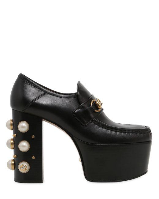 Gucci   Black Vegas Embellished Leather Pumps   Lyst