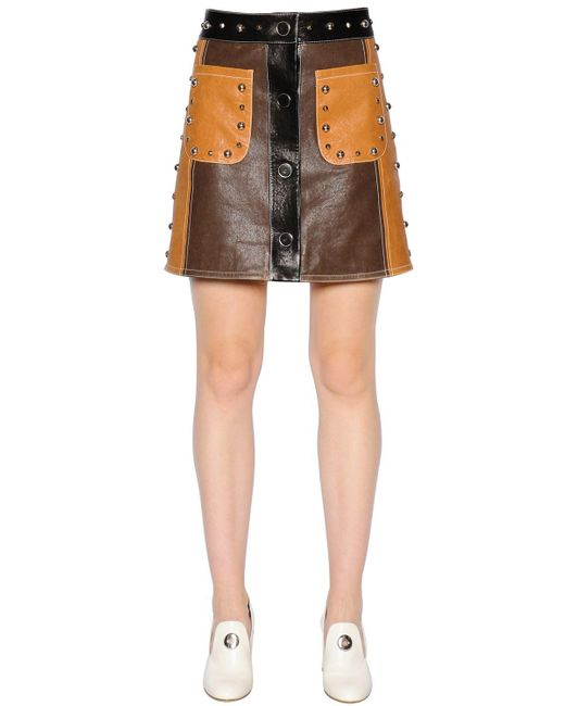 drome studded leather mini skirt in brown lyst