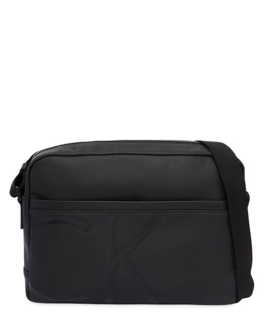 Calvin Klein - Black Logo Coated Fabric Messenger Bag for Men - Lyst