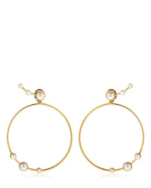 Eshvi   Metallic Lava Pearl Circle Earrings   Lyst