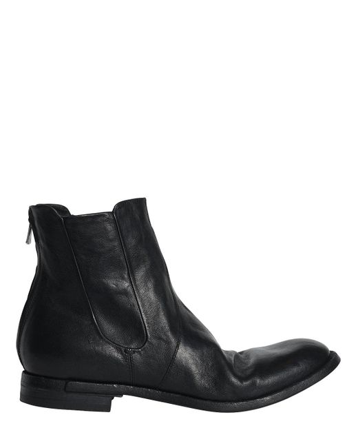 Officine Creative   Black Washed Leather Cropped Boots   Lyst