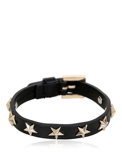 RED Valentino | Black Leather Bracelet W/ Star Studs | Lyst