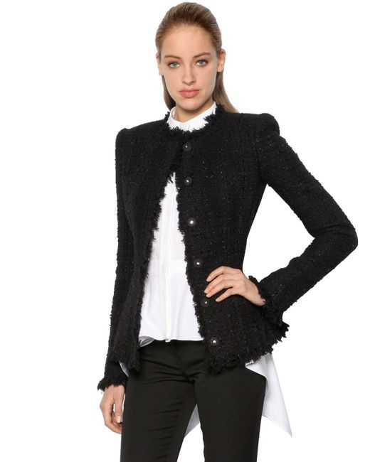 Alexander McQueen | Black Lurex & Wool Blend Tweed Jacket | Lyst